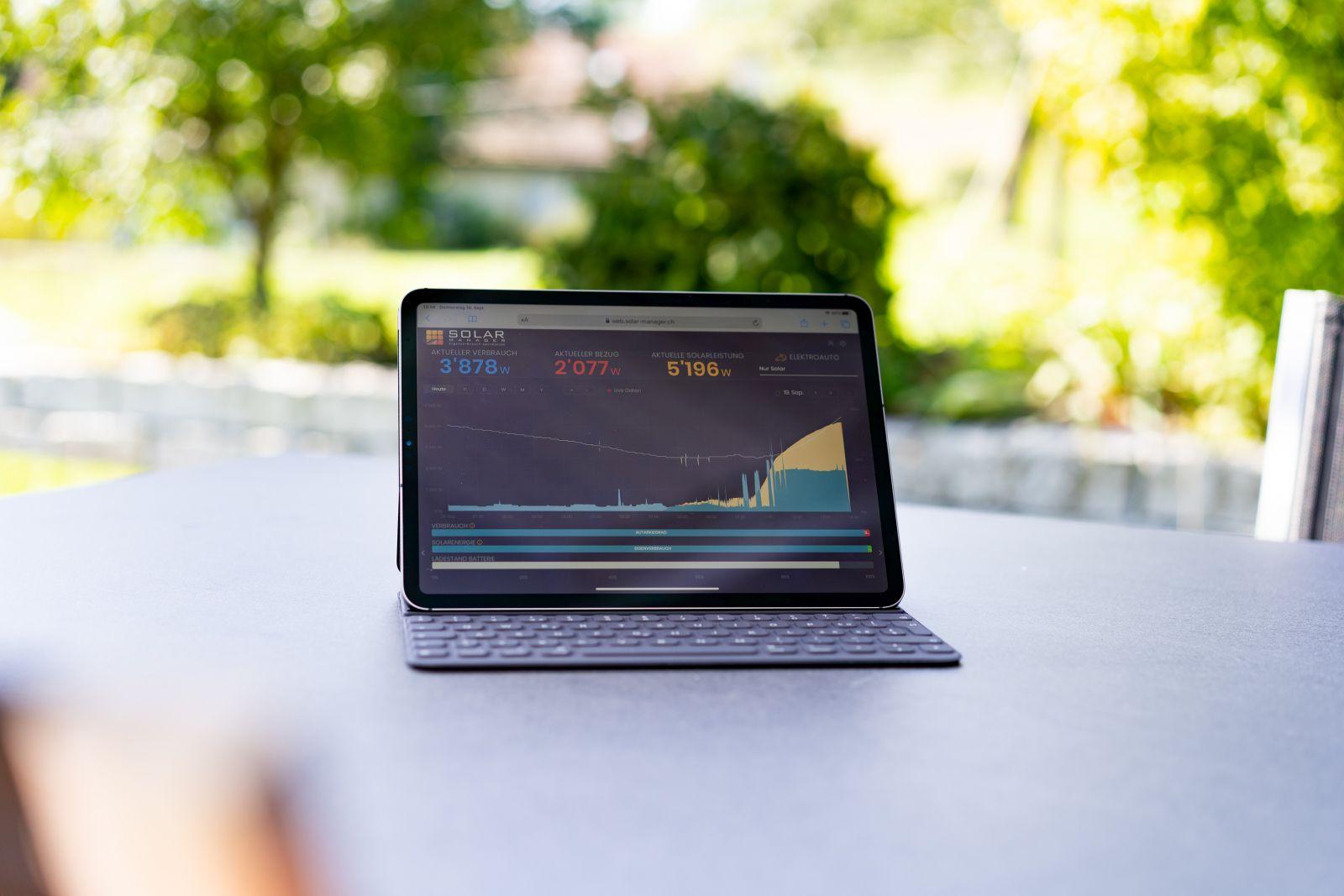 Solar Manager auf dem iPad Pro