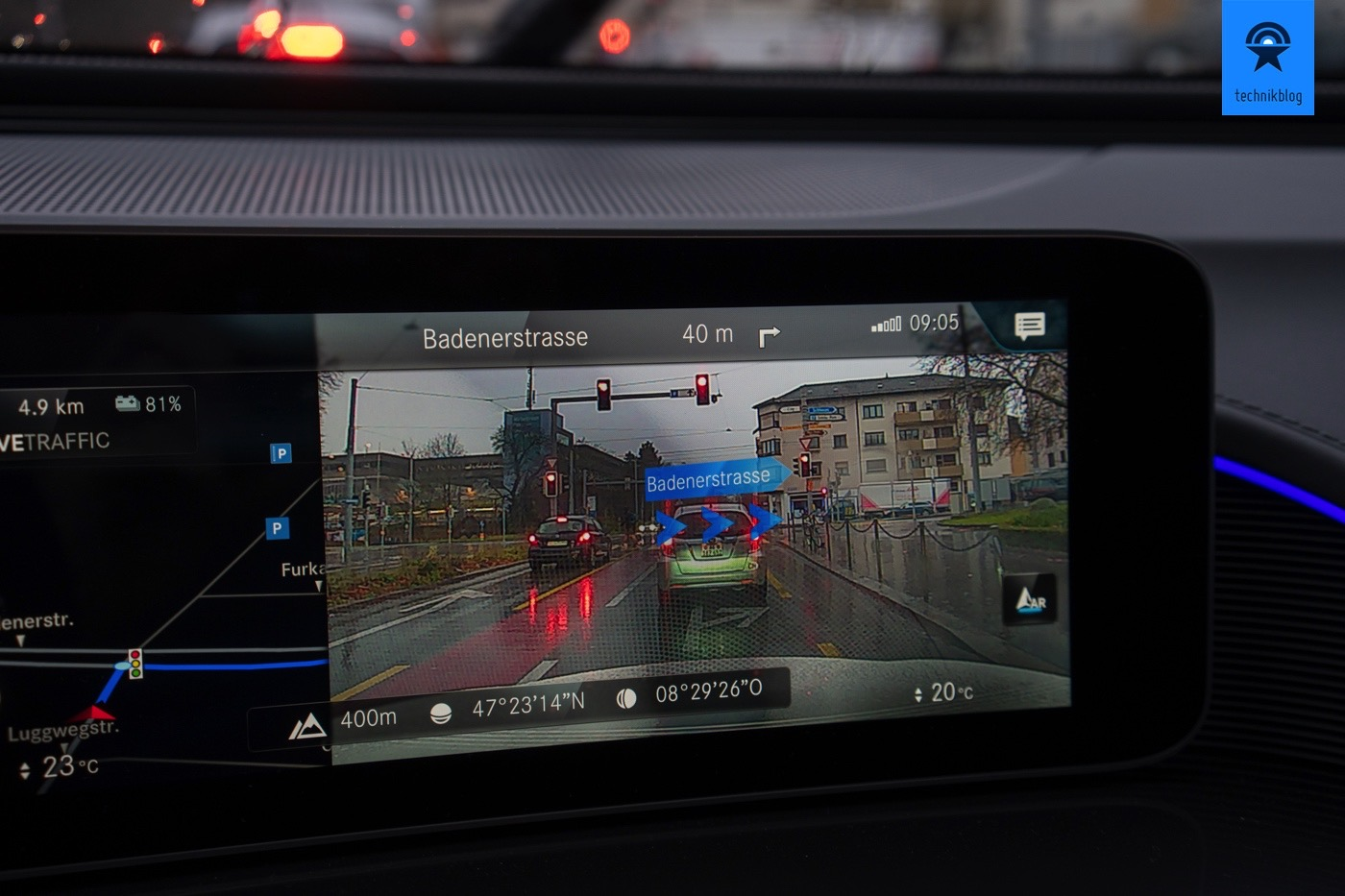 Augmented Reality Navigation beim Mercedes EQC