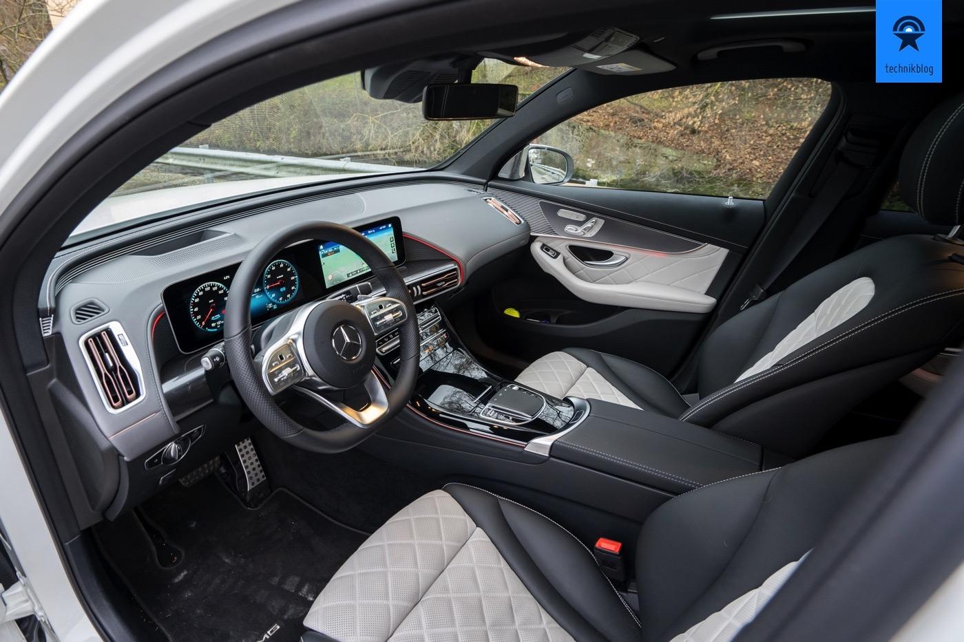 Innenraum des Mercedes EQC: Vordere Sitzreihe