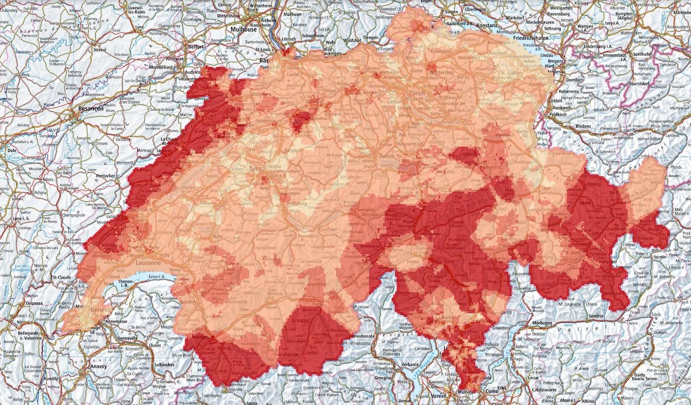 Radonkarte der Schweiz