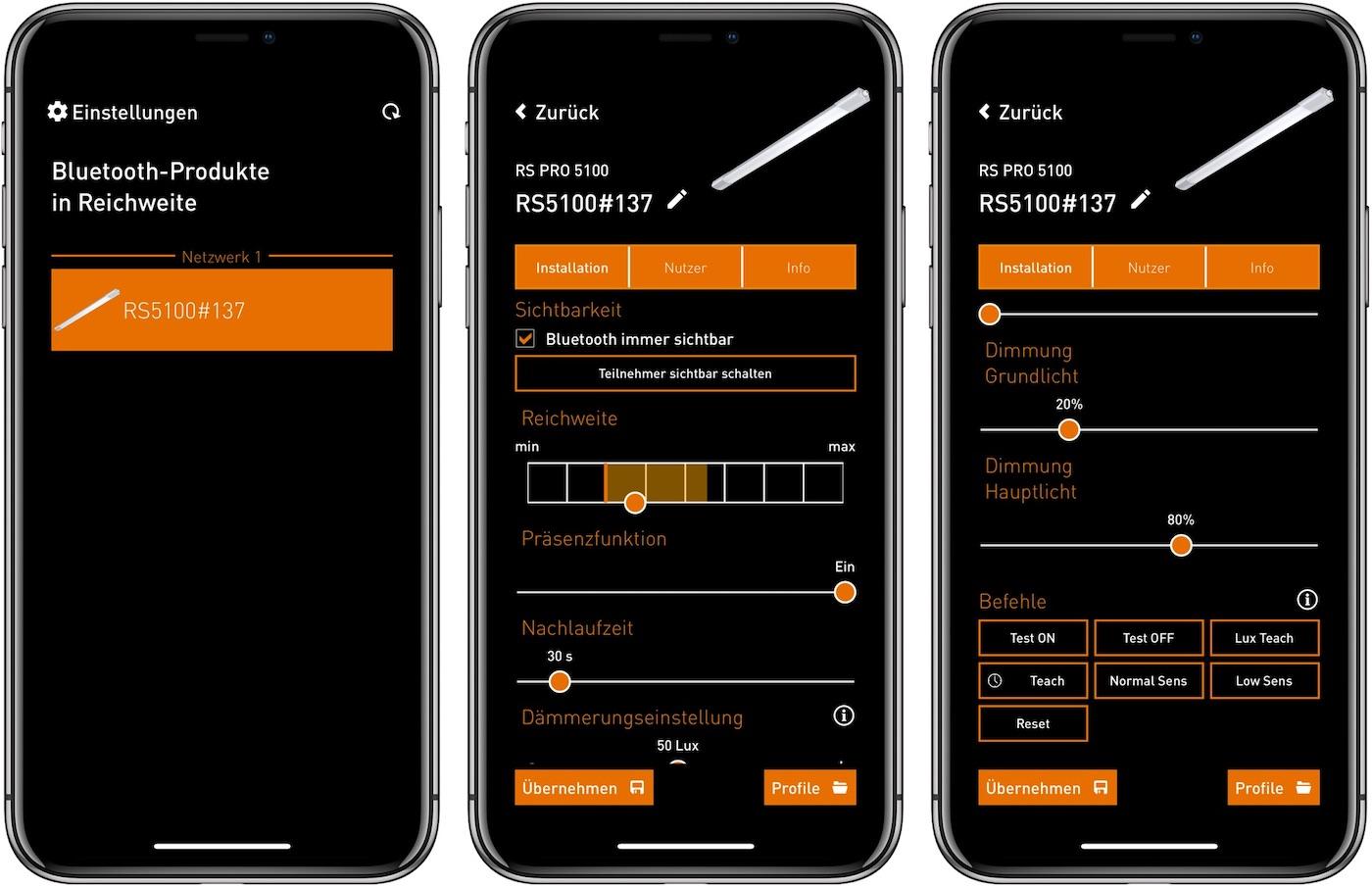 Einrichtung und Paramterierung der Leuchte über die App