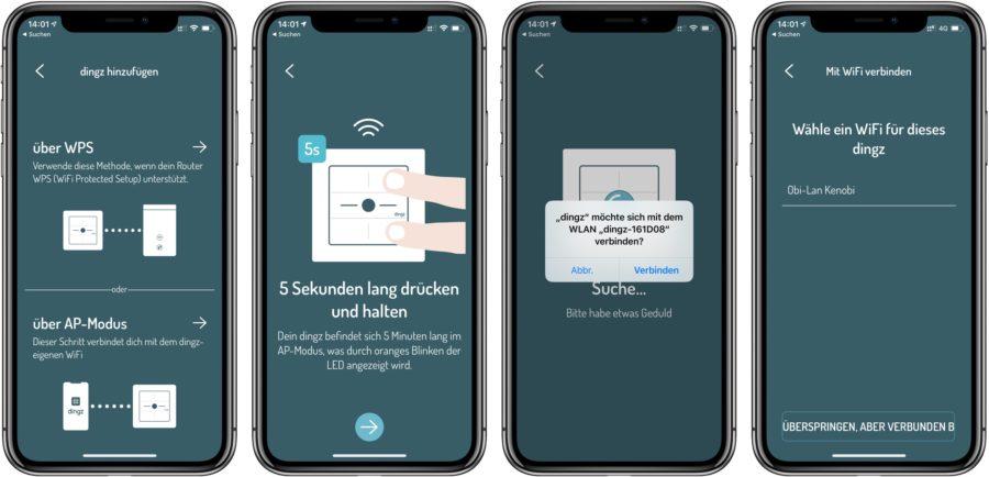 Dingz einbinden ins WLAN mit App