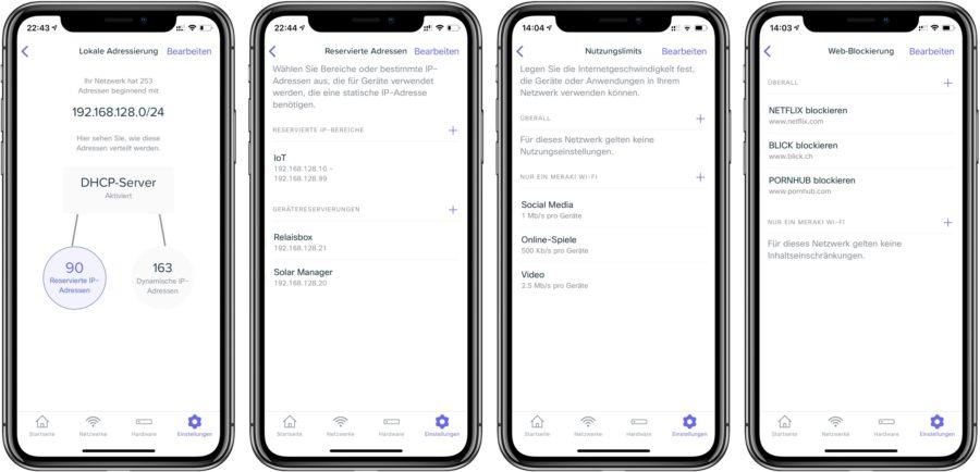 Erweiterte Einstellungsmöglichkeiten in der Meraki Go App