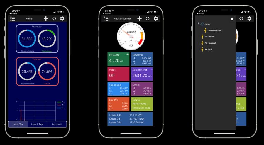 Die smart-me App liefert Daten und visualisiert auch verschiedene Auswertungen
