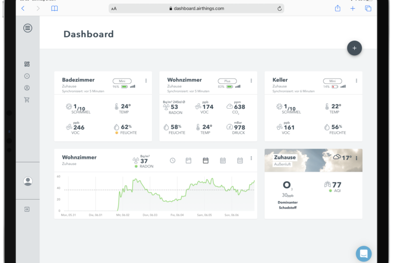 Airthings Dashboard im Webbrowser