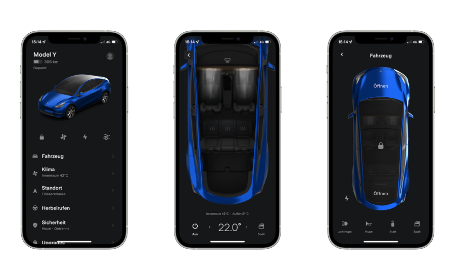 Tesla Model Y in der App